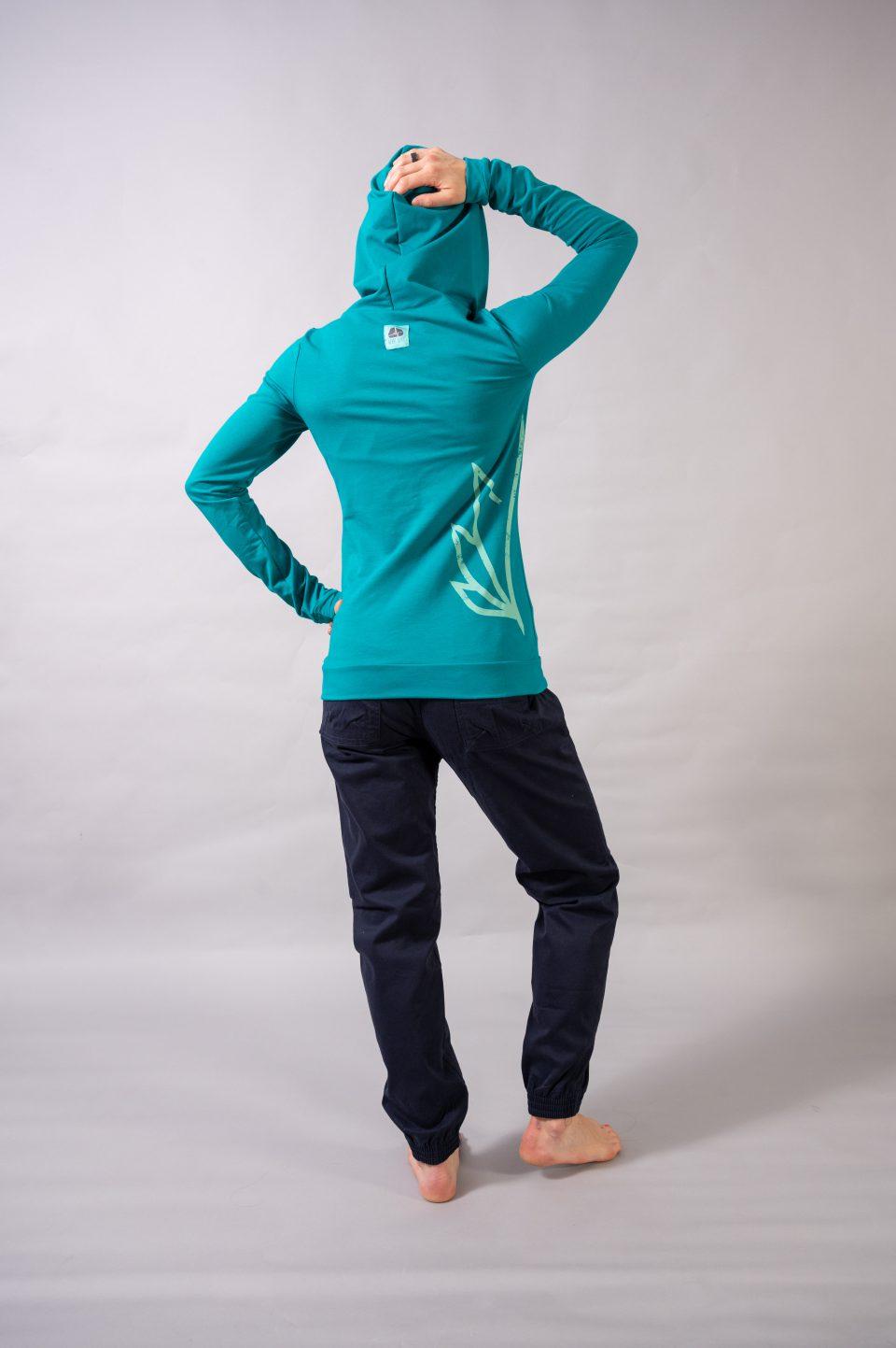 "Bluza Eskimo Hoody ""Lotos Print"" - zielony morski"