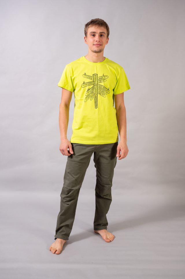 """T-shirt """"wspinaczkowe miejscówki"""" - limonka"""