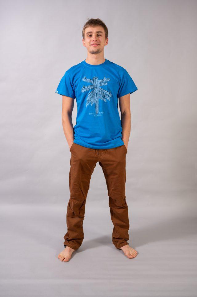"""T-shirt """"wspinaczkowe miejscówki"""" - niebieski"""